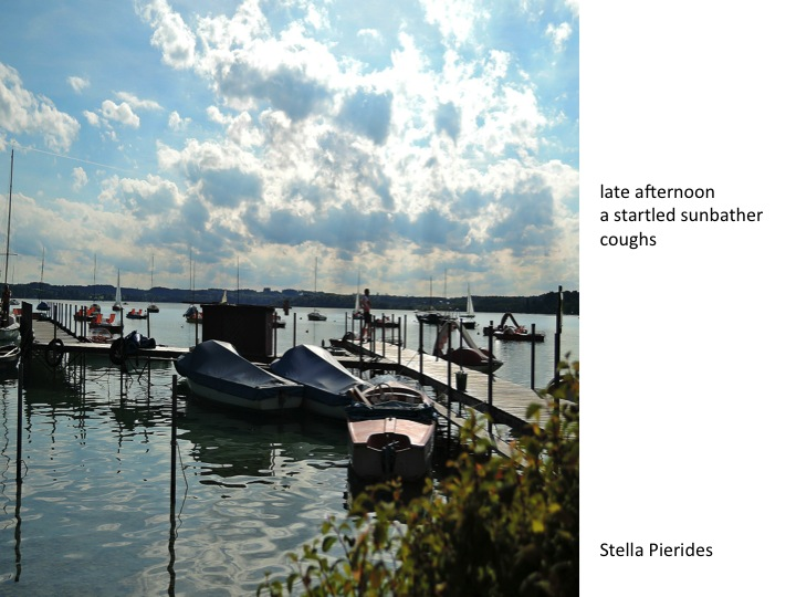 Woerthsee,summer,haiga,afternoon,cough,sunbather,smallstone,nahaiwrimo,