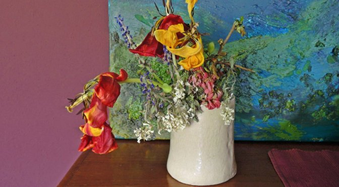 vase with tulips,haiga,