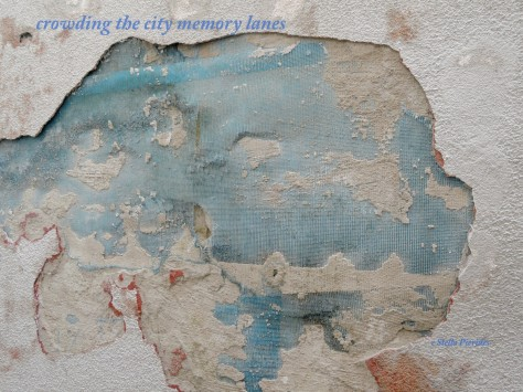 plaster,haiga,haiku,city,