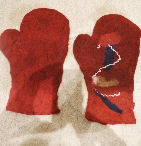mittens, felting, haibun