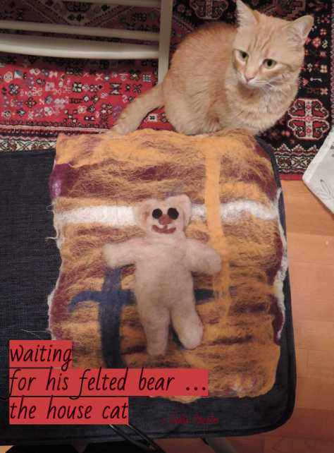cat,felted bear,haikufeltings,