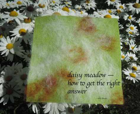 daisy meadow, haiga, felting,