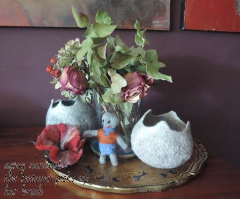 felting, dried flowers,